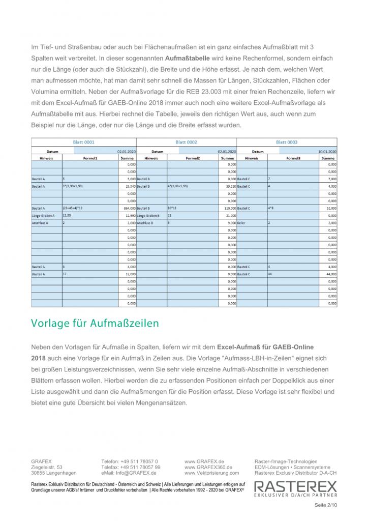 Detaillierte Informationen zu GAEB Online Zusatzmodul für Excel Aufmaß Seite 002
