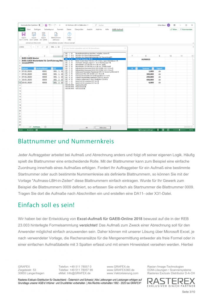 Detaillierte Informationen zu GAEB Online Zusatzmodul für Excel Aufmaß Seite 003