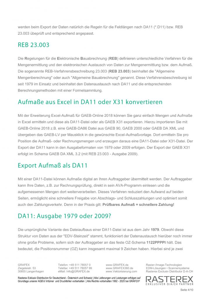 Detaillierte Informationen zu GAEB Online Zusatzmodul für Excel Aufmaß Seite 004