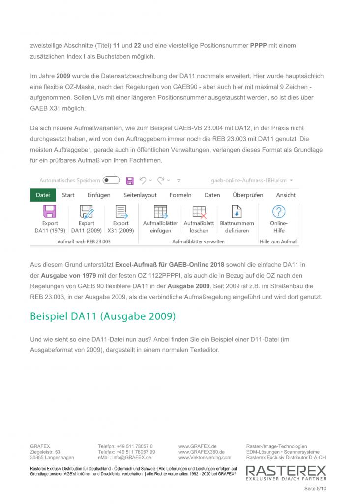 Detaillierte Informationen zu GAEB Online Zusatzmodul für Excel Aufmaß Seite 005