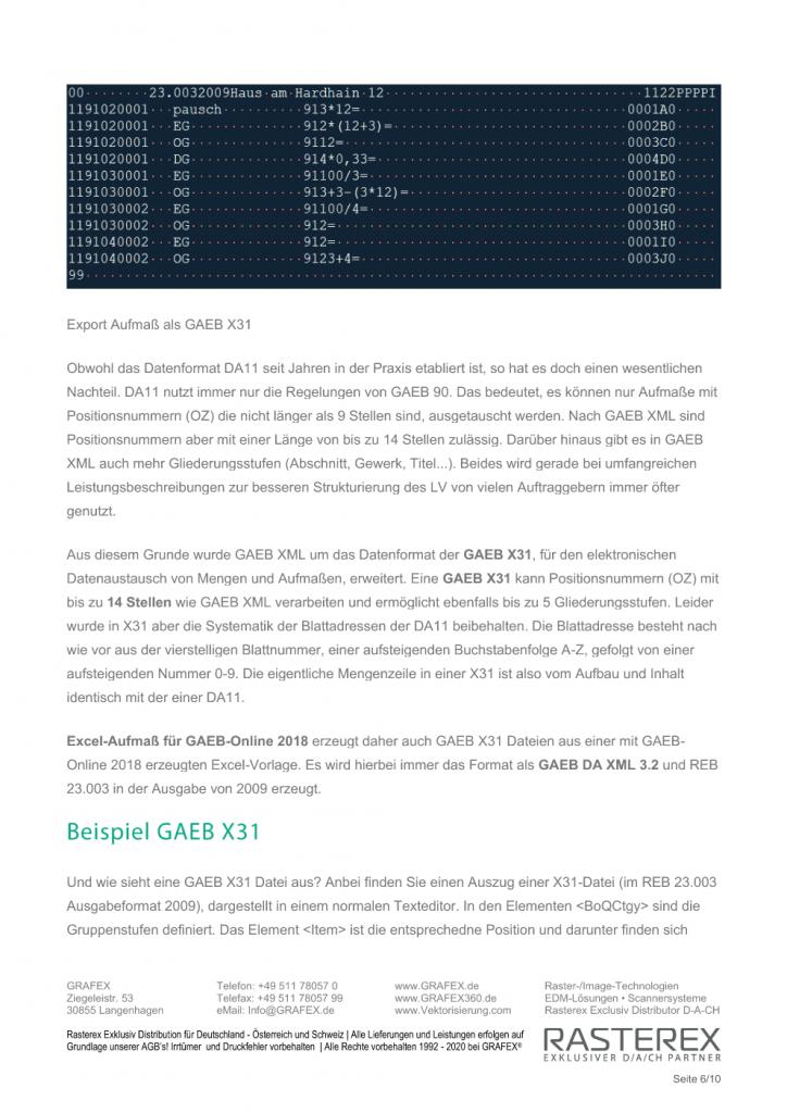 Detaillierte Informationen zu GAEB Online Zusatzmodul für Excel Aufmaß Seite 006