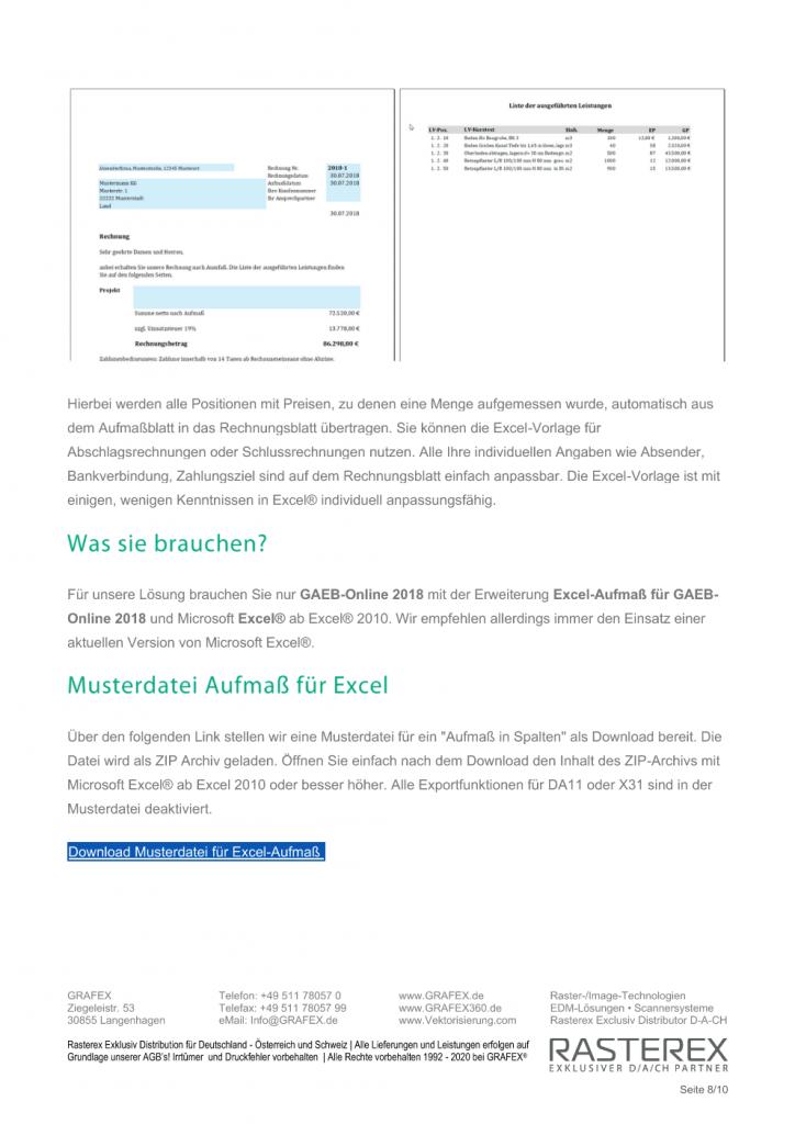 Detaillierte Informationen zu GAEB Online Zusatzmodul für Excel Aufmaß Seite 008