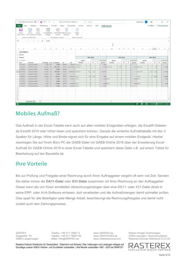 Detaillierte Informationen zu GAEB Online Zusatzmodul für Excel Aufmaß Seite 009