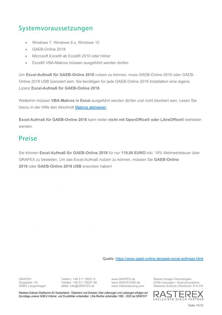 Detaillierte Informationen zu GAEB Online Zusatzmodul für Excel Aufmaß Seite 010
